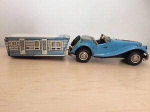 Vintage 1950s Japan Tin Toy House Trailer & Roadster Tin Friction Bandai?