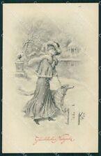Borzoi dog Glamour Lady B K W I LITTLE CREASE postcard cartolina QT6150