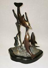 More details for vintage bronze statue sculpture 3 dolphins seas scape dolphins vintage