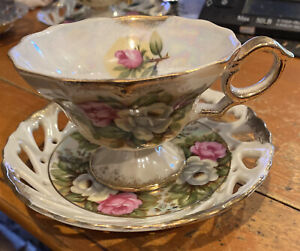 Vintage Pedestal Cup Saucer PINK & WHITE ROSES IRIDESCENT Reticulated JAPAN
