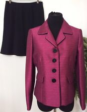 Jones Studio Women's Career Pink Black Polyester Blend 2 Piece Skirt Suit Sz10P