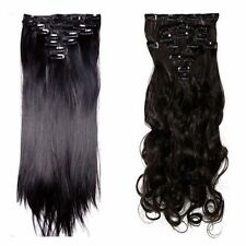 US Real 8PC 18 Clips Clip In Hair Extensions Hairpiece As Human Hair Extentions