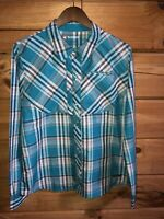 Simms Women's Sz X-Large Teal Plaid Hiking Fishing Shirt Long Sleeve UPF 30+
