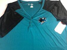 San Jose Sharks Jersey Shirt Womens 4X Plus Dri-Fit NHL Hockey Bling Cool Base