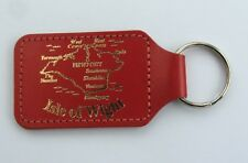 Red leather Isle of Wight map keyring