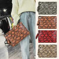 Women Wallet Purse Snake Print Wristlet Clutch PU Leather Money Phone Pouch Bags