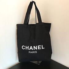 Auth CHANEL Paris Beauty VIP Gift Black Canvas Tote Bag Shopping Bag