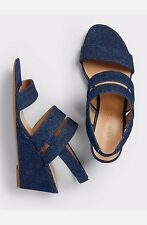 Talbots Sandals Shoes Royce Wedge Unwashed Blue Denim 305545 New 9 $139