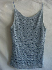 AUTH PAPELL BOUTIQUE BLING SPAGHETTI STRAP CROCHET BEADED BLOUSE BLUE SZ L