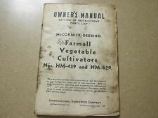 International Harvester HM 439 639 cultivator owners maintenance & parts manual