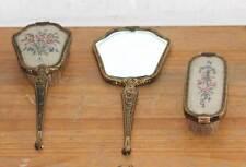 Antique Edwardian Era 3-Piece Embroidered Dressing Table Set England,c.1900-1910