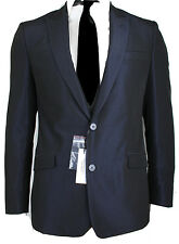 NEWT$100% AUTH TUXEDO GLITZY BLUE WOOL BLEND VERSACE BLAZER JACKET COAT 40 R