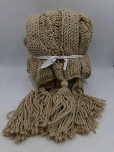 Pottery Barn Bluma Chunky Knit Tassel Throw Neutral #9155