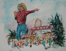 Collectable Dallas Historical sites Art ,Big Tex, 11X14 Watercolor print
