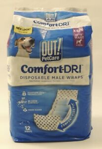 """NEW Out 12 Comfort-DRI Disposable Male Wraps XS S 13"""" - 18"""" 4-25 lbs Dog Diaper"""
