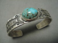 IMPORTANT JEANETTE DALE NAVAJO ROYSTON TURQUOISE STERLING SILVER BRACELET CUFF