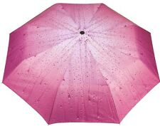 Ladies Compact Folding Umbrella Light Pink - 3D Rain Drop Print - Sun Protection