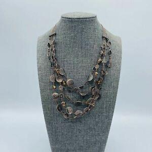 "Chico's Bronze Tone Disk Beads Multi Strand Necklace 14 - 16"""