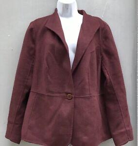 Talbots Soft Brushed Wool Blend Blazer Womens Plus Sz 16W Burgundy Plum