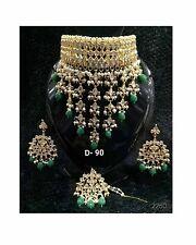 Indian Kundan Goldtone Bollywood Bridal choker Necklace Earring Jewelry Set