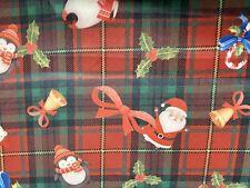 Father Christmas Santa Claus Tartan Print Scuba Jersey Dress Fabric, Per Metre