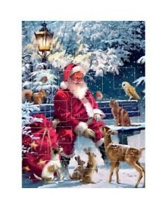 "Traditional  Advent Calendar Santa Takes A Break 12"" x 9"""