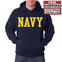 NAVY BLOCK HOODIE GOLD Military Hooded Sweatshirt USNAVY Blend Seal US U.S.NAVY