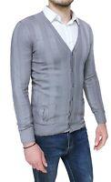 Cardigan maglioncino uomo Diamond casual grigio aderente slim fit con bottoni