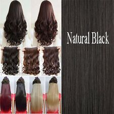 Hot women one peice 3/4 full head clip in hair extensions Brown Gray Piece tgst6