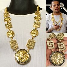 "NEW MENS GOLD 5 MEDALLION GREEK GOD CUBAN LINK CHAIN PENDANT 33"" NECKLACE"