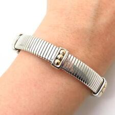 """925 Sterling Silver 2-Tone Spike Tubogas Design Flexible Bangle Bracelet 7"""""""