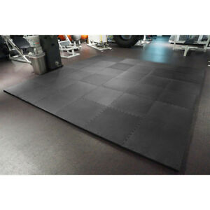 """MEISTER 1.5"""" PUZZLE FLOOR MATS *EXTRA THICK* Home Gym Play Foam Wrestling BLACK"""