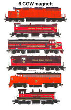 Chicago Great Western Locomotives set of 6 magnets by Andy Fletcher