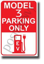 Tesla Model 3 Parking Only (Red) - NEW Humor Elon Musk POSTER (hu421)