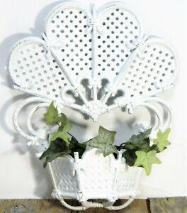 Wall Pocket Planter Vase Basket Fan Faux Wicker Rattan White Vintage