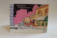 Ziggy Vtg 1977 Christmas Greeting Card Dog Cat Snowfall Pink  American Greeting