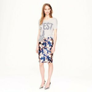 J.CREW Collection NWT $198 Womens No 2 Pencil Skirt Antique Floral Navy Multi 4P