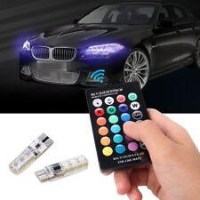 2x T10 5050 6SMD RGB LED Car Interior Reading Light Lamp Bulb + Remote Control
