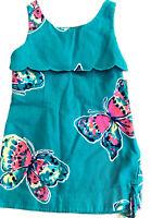 Lilly Pulitzer Girls Designer Summer Dress 4 Turquoise Pink Yellow Butterflies!