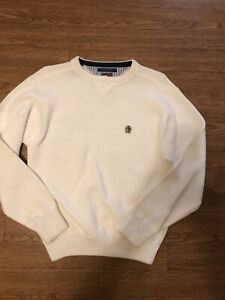 Tommy Hilfiger Knit Sweater Mens Large Long Sleeve White Crew Neck Cotton Casual