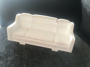 DOLLS HOUSE, SOFA, White Plastic COUCH, FURNITURE, VINTAGE