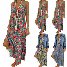Women Boho Summer Sleeveless Floral Maxi Dress Beachwear Long Sundress Plus Size