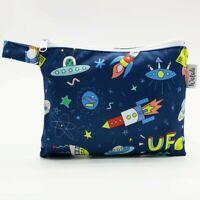 Small Waterproof Wet Bag with Zip 19 x 16cm - Rocket & Space Design