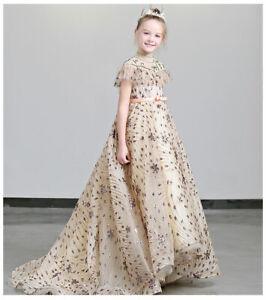 Childrens Girls Floor Length Elegant Vintage Pageant  Princess Dress Gown ZG9