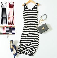 Quality MODAL Stripes Sleeveless Casual Dress Classic Womens Long Beach  Dress