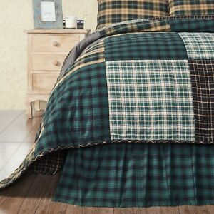 VHC Pine Grove Green Black Plaid Country Farmhouse Gathered Bed Skirt