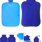Attmu Rubber Hot Water Bottle with Cover Knitted, Transparent Hot Water Bag 2...