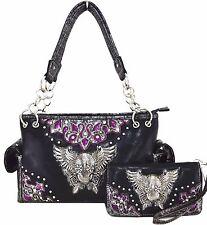 Western Cowgirl Sugar Skull Wings Cross Handbag Shoulder Bag Purse Wallet Set