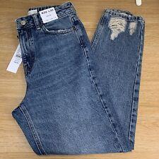 BNWT Topshop Mid Blue Ripped Hem Mom Jeans - W26 L30 - UK 8