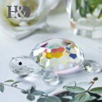 Crystal Turtle Figurines Glass Animals Collectables Home Decor Gifts AB Coating